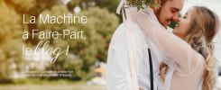 Visuel d'un couple de jeunes mariés qui s'embrasse devant un lac pour illustrer l'article La Machine à Faire-Part, le blog !