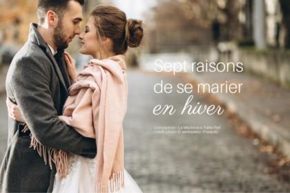 Visuel d'un couple de mariés qui s'embrasse en hiver pour illustrer l'article les bonnes raisons de se marier en hiver