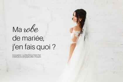 Visuel d'une mariée dans sa robe de mariée de dos pour illustrer l'article ma robe de mariée, j'en fais quoi ?