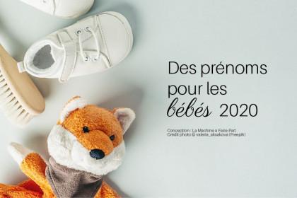 Visuel avec des affaires de bébé pour illustrer l'article des prénoms pour les bébés 2020
