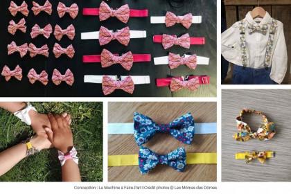 Photos de noeuds papillons et costumes pour enfant réalisés par Les Mômes des Dômes