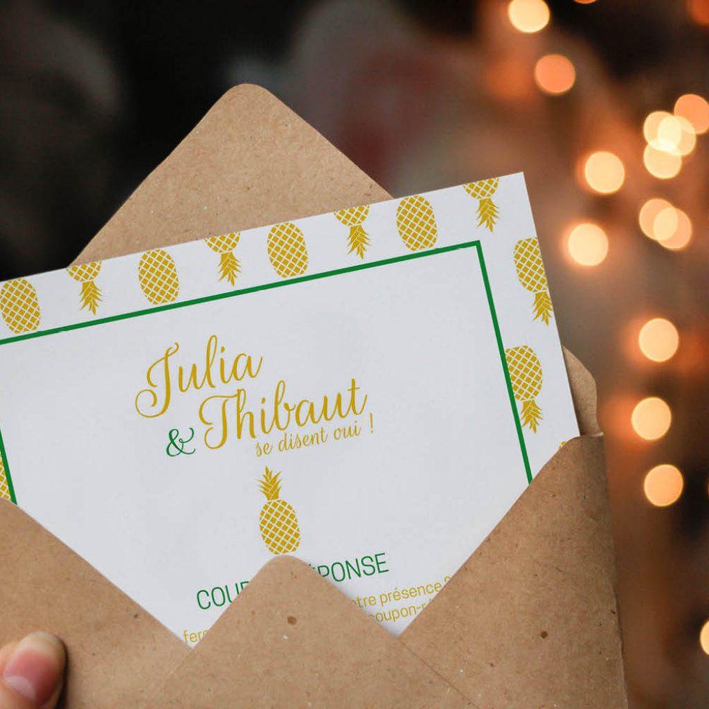 Le coupon-réponse de mariage de Julia & Thibaut