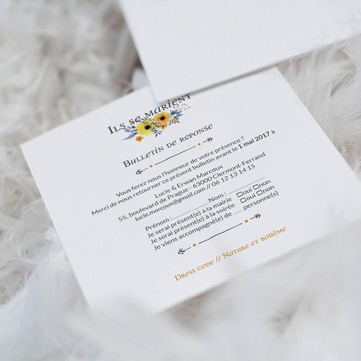 Le coupon-réponse de mariage de Lucie & Erwan