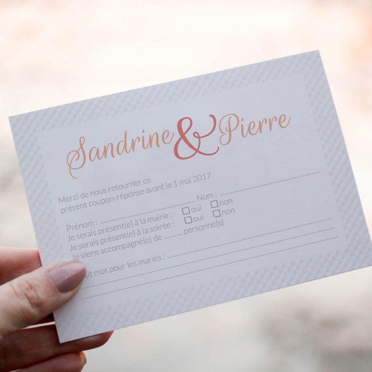Le coupon-réponse de mariage de Sandrine & Pierre