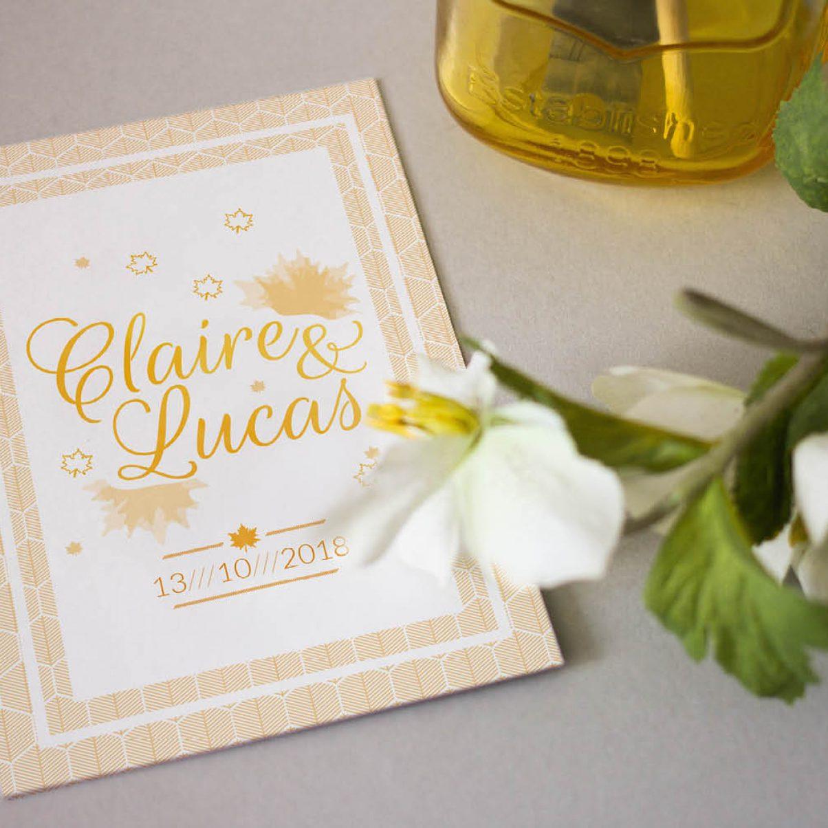 Faire-Part - Mariage - Claire & Lucas - Recto