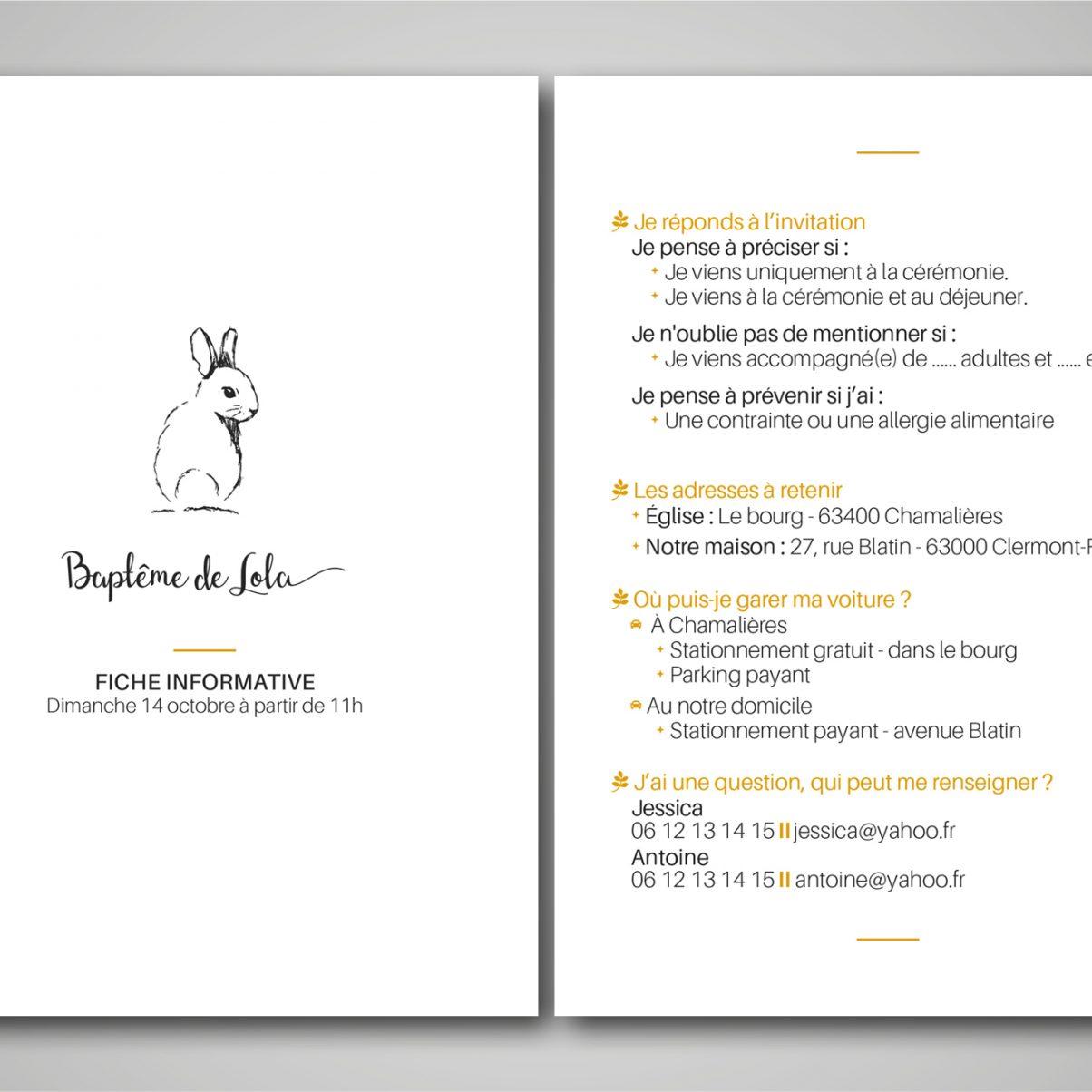 Fiche informative - Baptême-communion - Lola