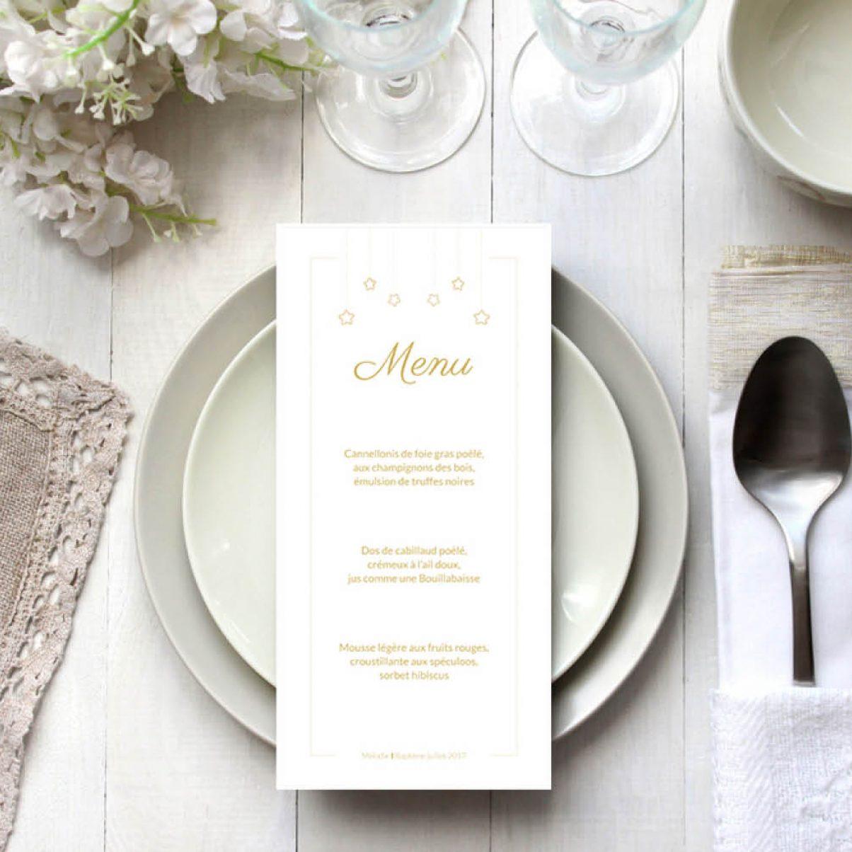 Le menu du baptême de Mélodie