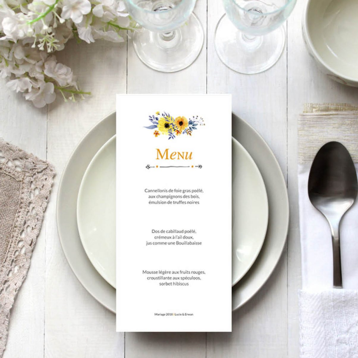 Le menu de mariage de Lucie & Erwan