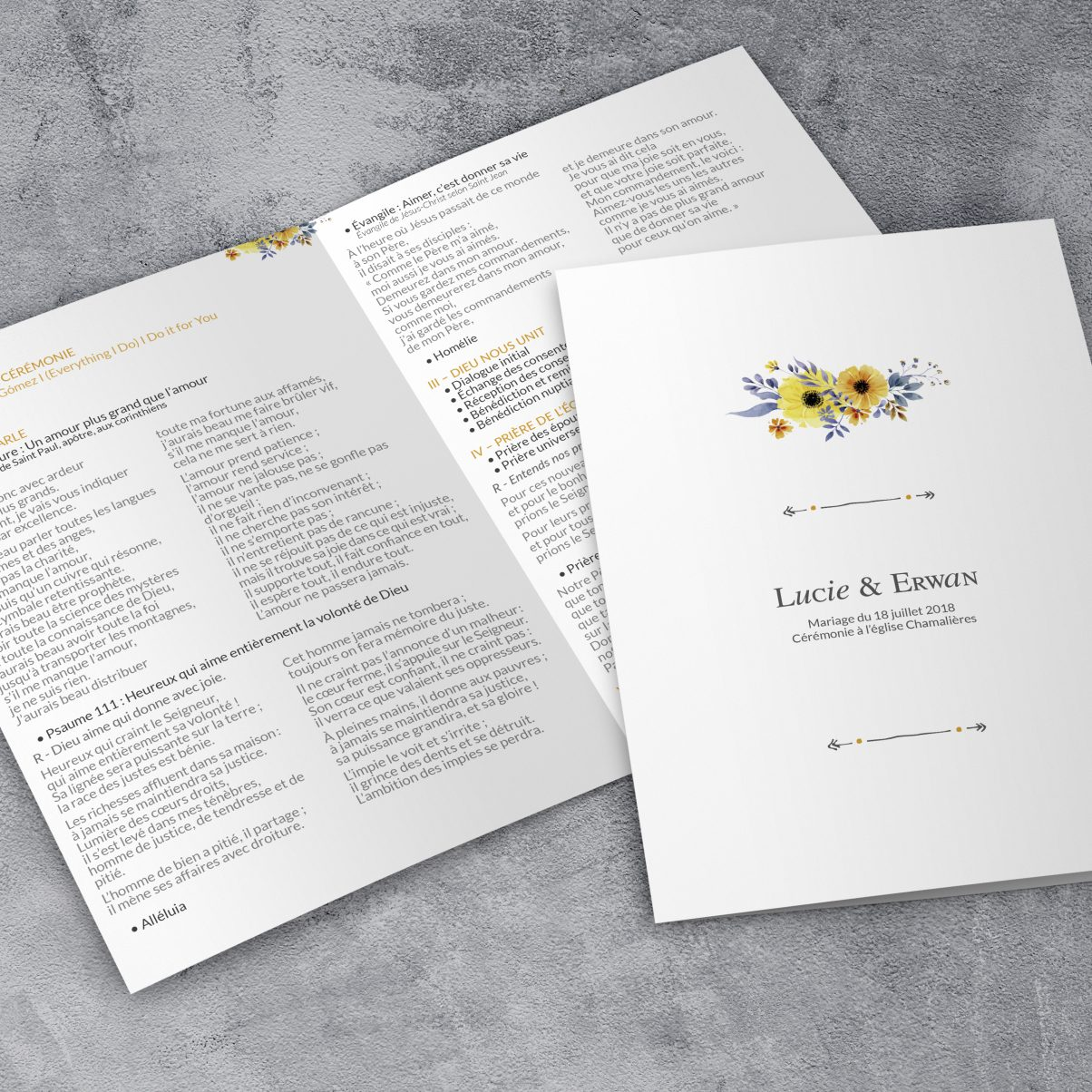 Le livret de messe de mariage de Lucie & Erwan