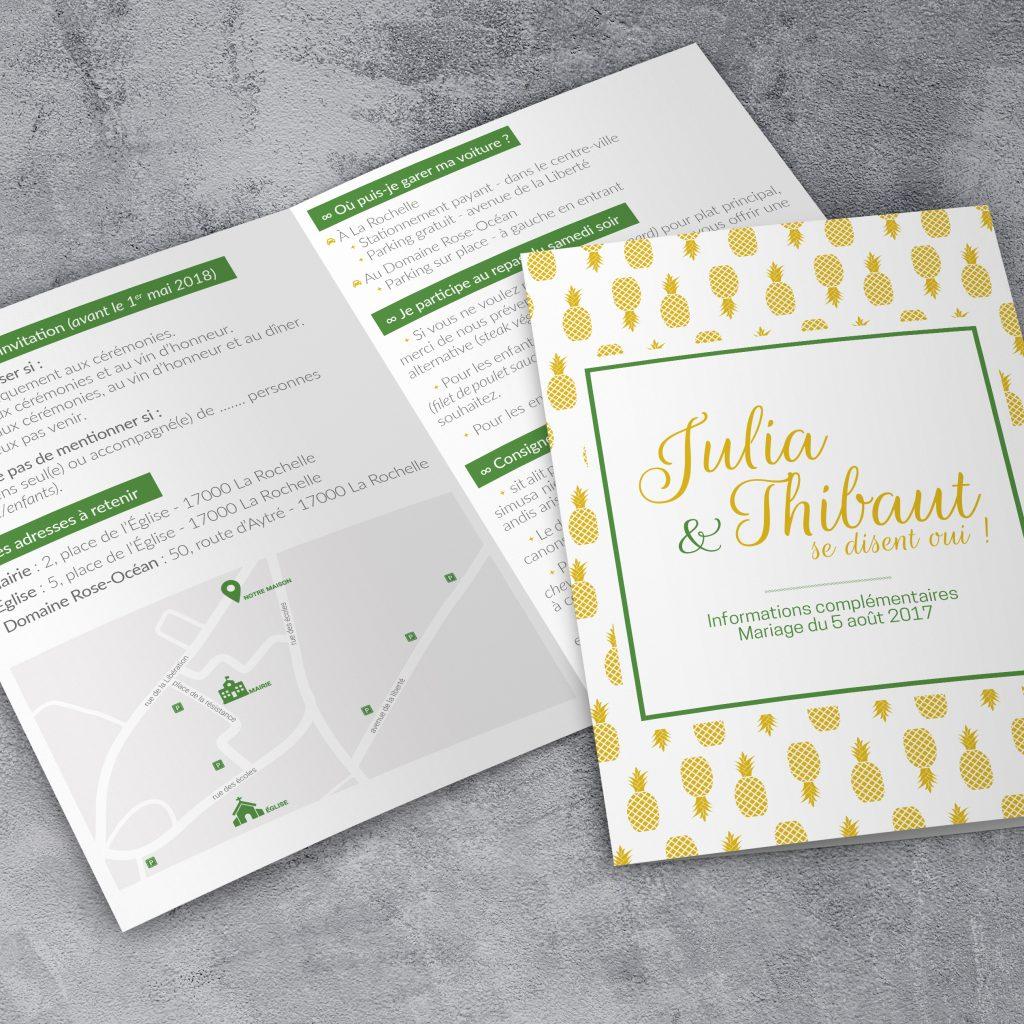 Le livret d'informations de mariage de Julia & Thibaut