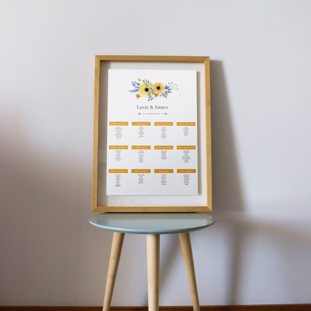 Le plan de table de mariage de Lucie & Erwan