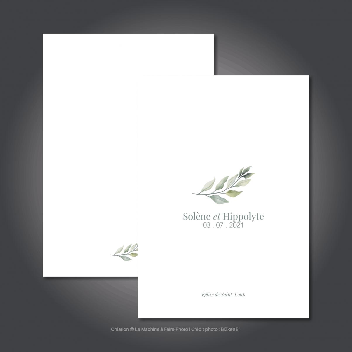Le livret de messe de mariage de Solène & Hippolyte