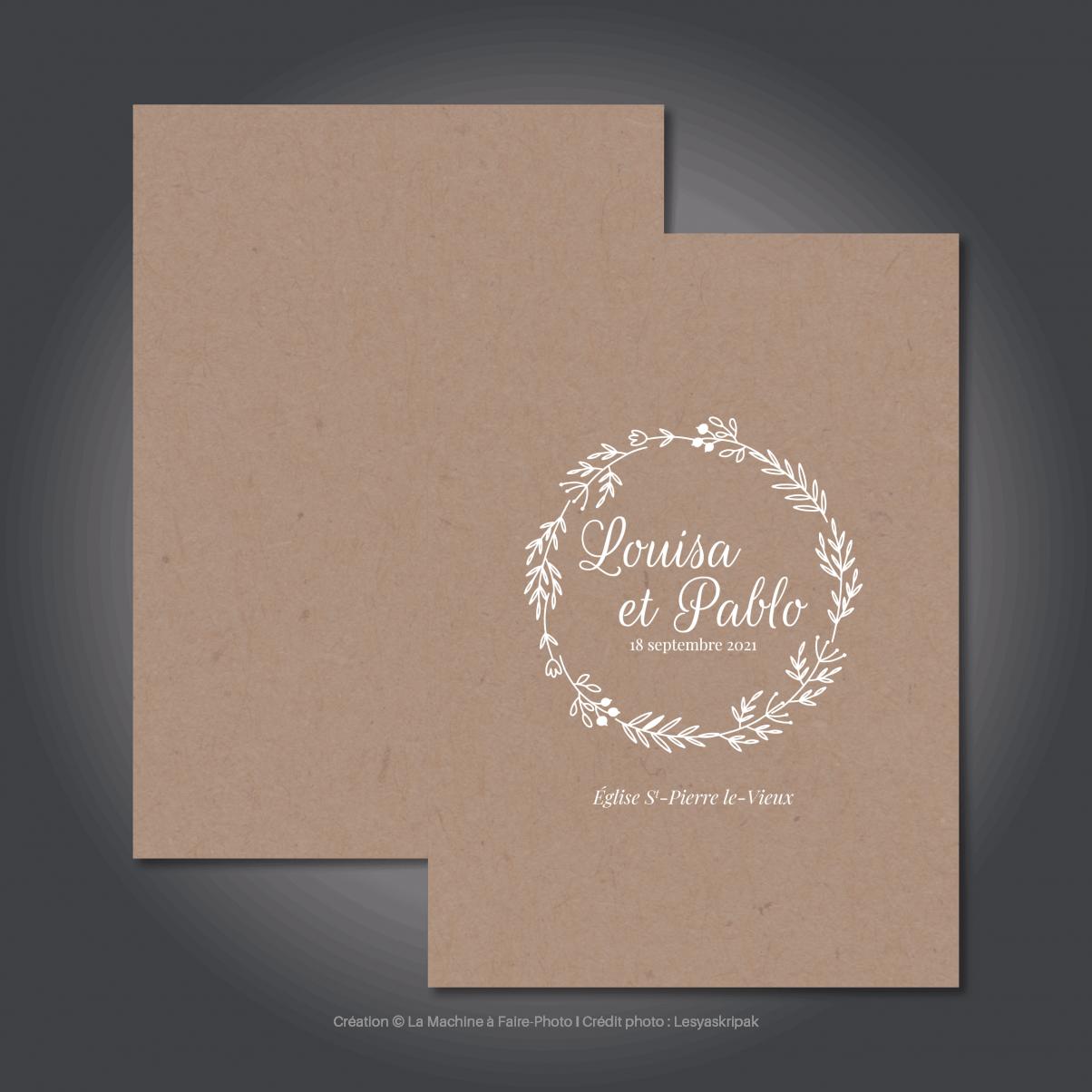 Le livret de messe de mariage de Louisa & Pablo