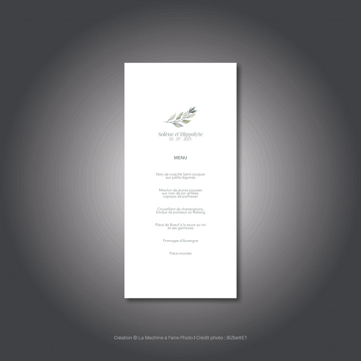 Le menu du mariage de Solène & Hippolyte