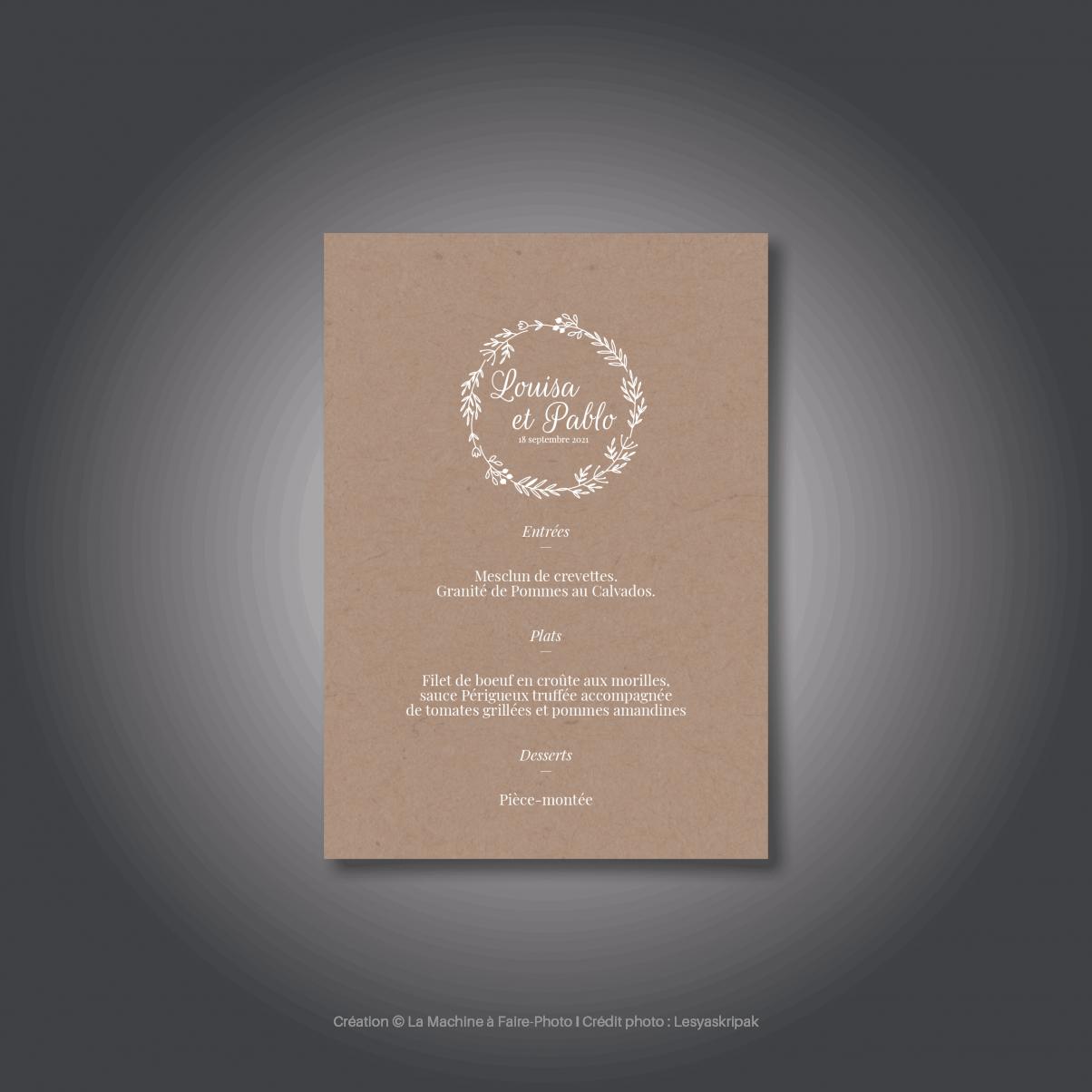 Le menu du mariage de Louisa & Pablo