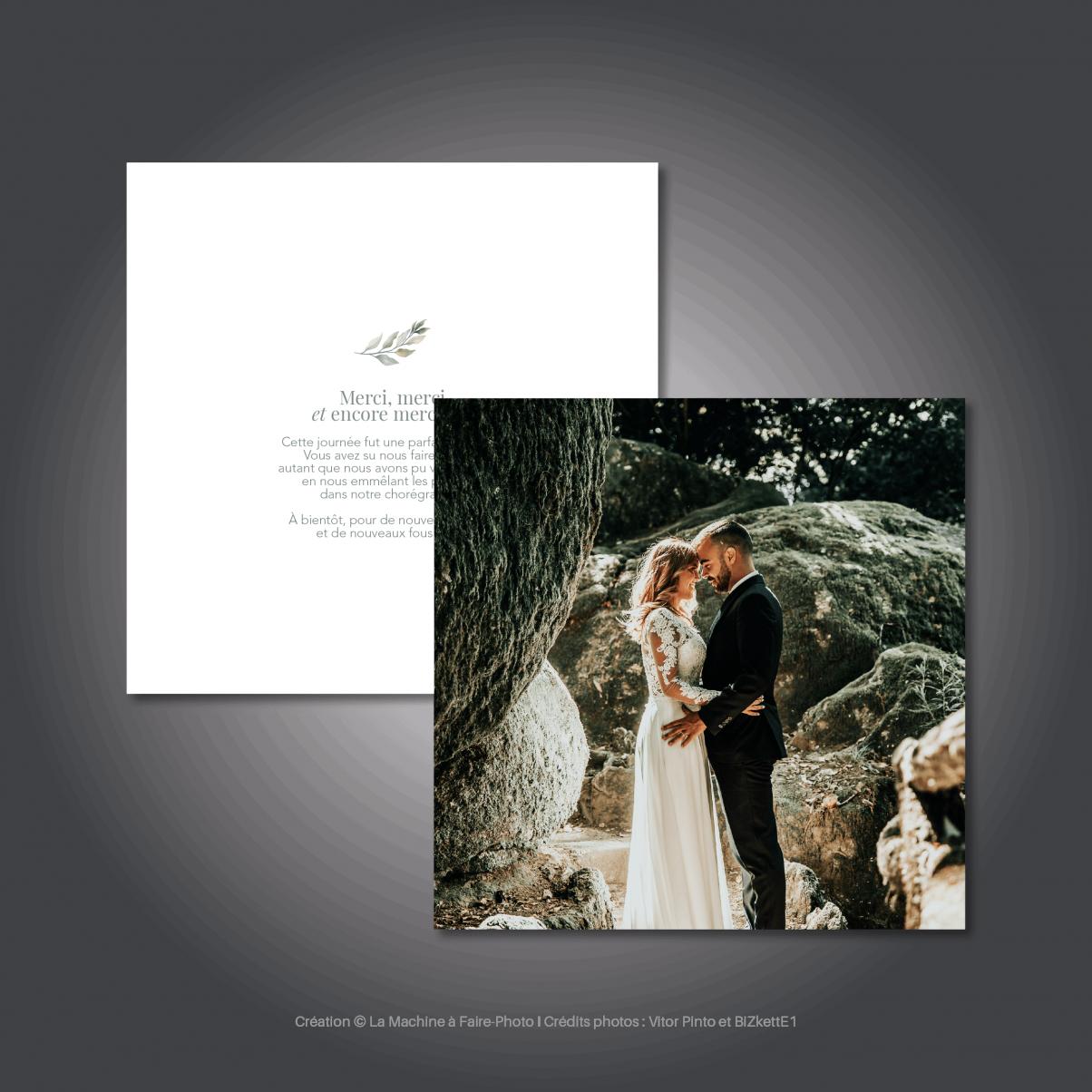 Le carton de remerciements mariage de Solène & Hippolyte