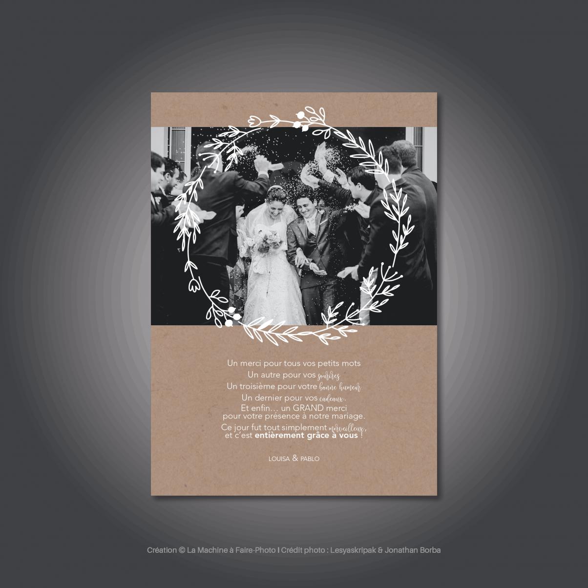 Le carton de remerciements mariage de Louisa & Pablo