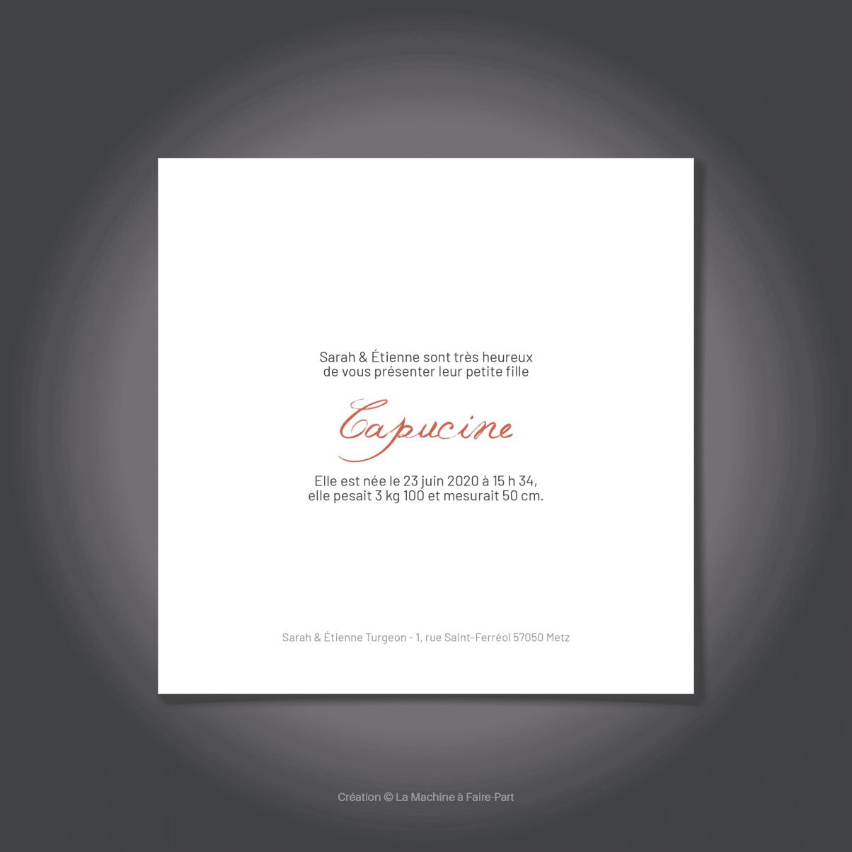 Le Faire-Part verso de naissance de Capucine