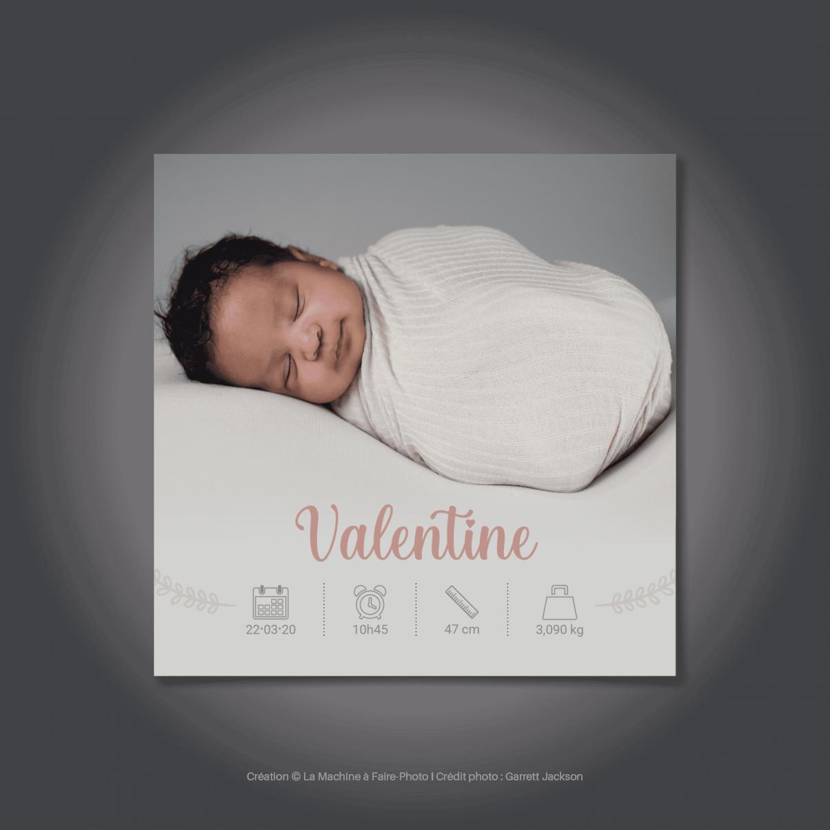 Le Faire-Part recto de naissance de Valentine