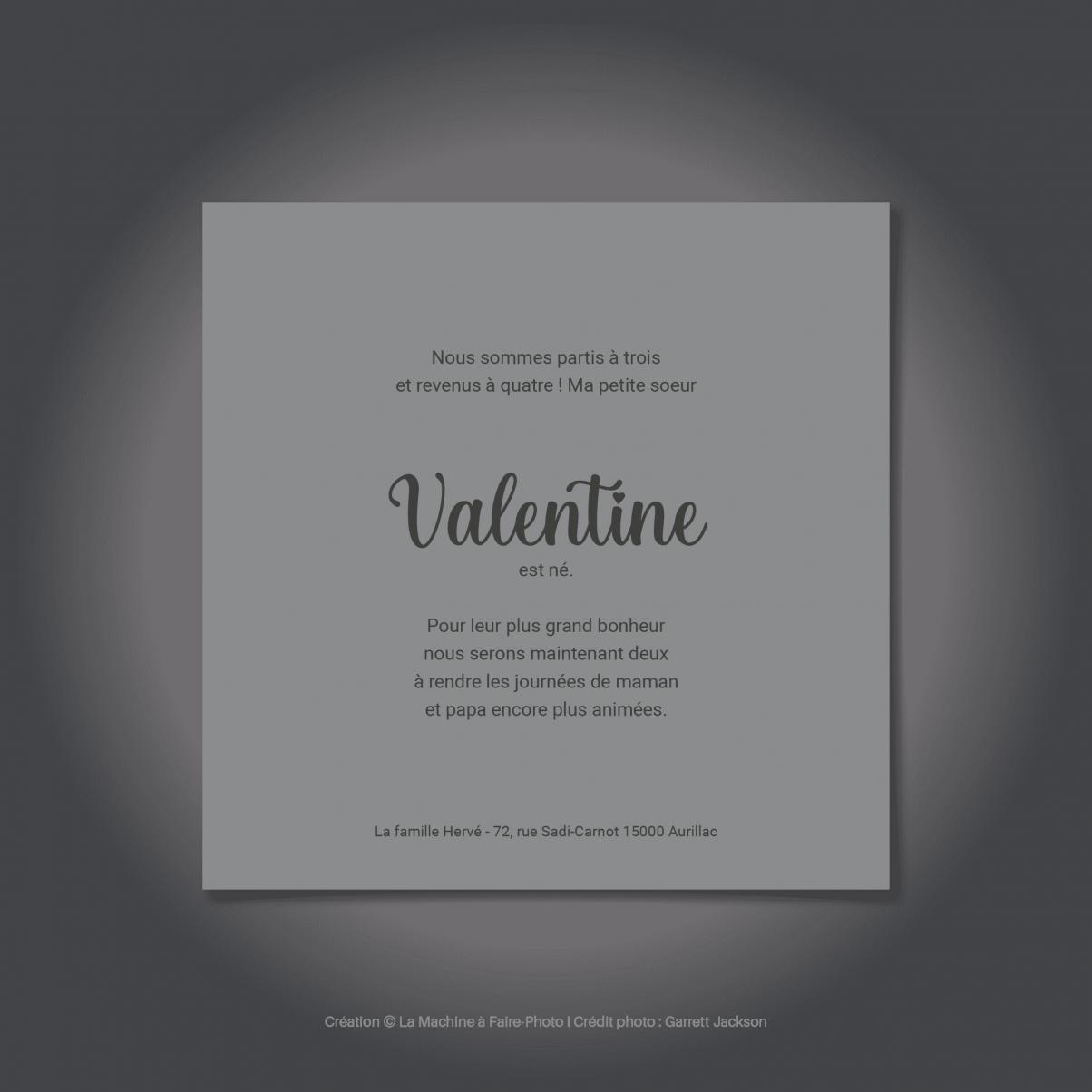 Le Faire-Part verso de naissance de Valentine