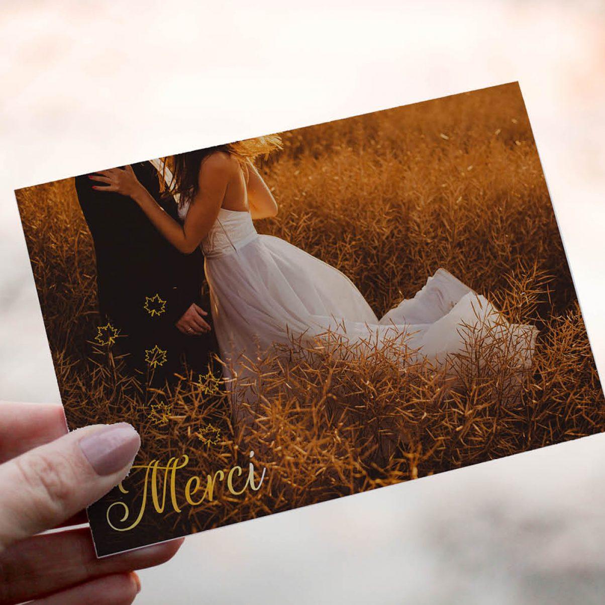 Le carton de remerciements du mariage de Claire & Lucas - recto