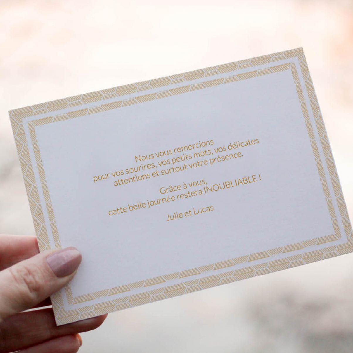 Le carton de remerciements du mariage de Claire & Lucas - verso