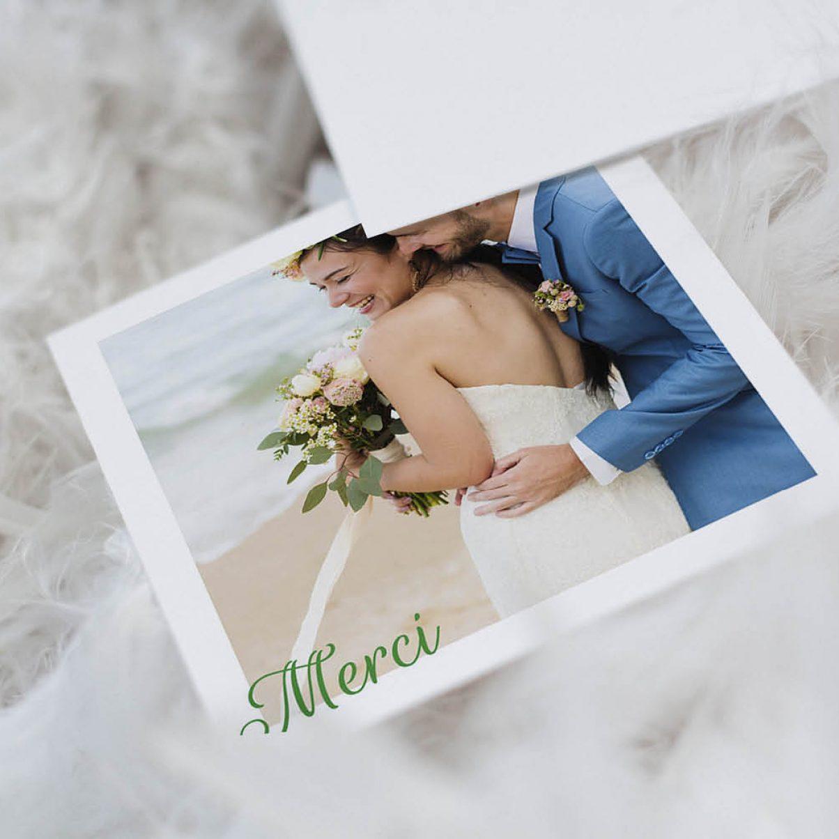 Le carton de remerciements du mariage de Julia & Thibaut - recto