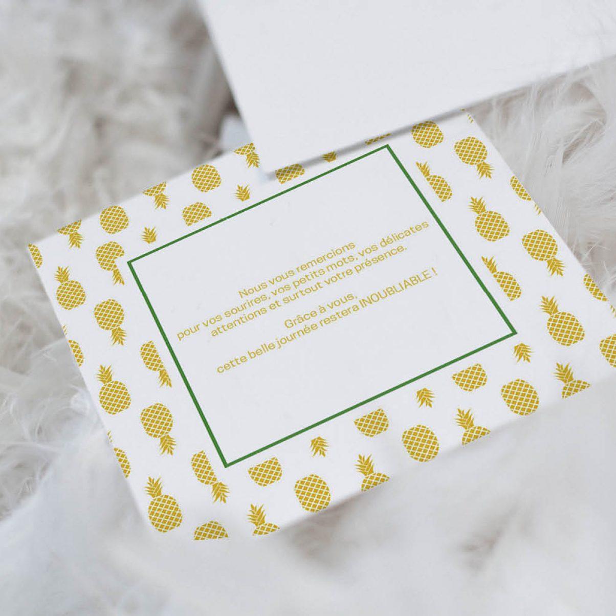 Le carton de remerciements du mariage de Julia & Thibaut - verso