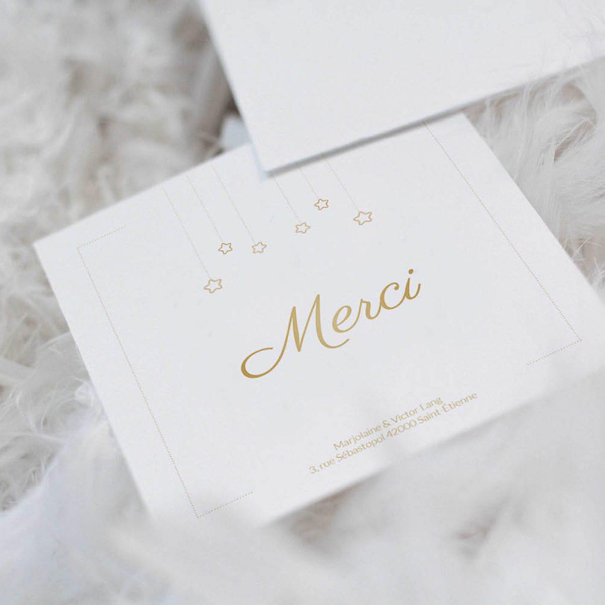 Le carton de remerciements de naissance de Mélodie